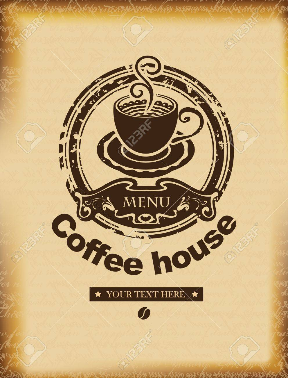 banner for a coffee house on a background of ancient papyrus - 20322876