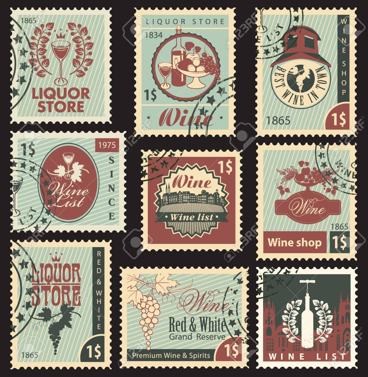 set of postal stamps on theme of wine and liquor - 20659402