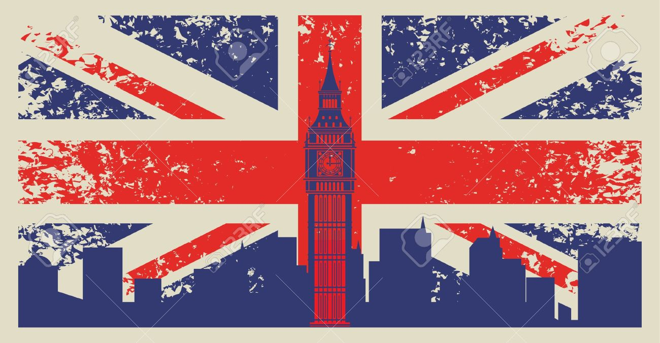Britain flag and Big Ben in London - 20659669