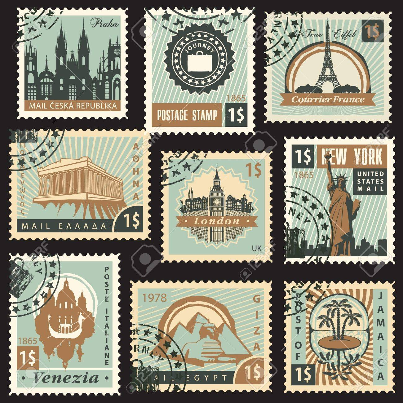 set of stamps from different countries with architectural landmarks - 20659314