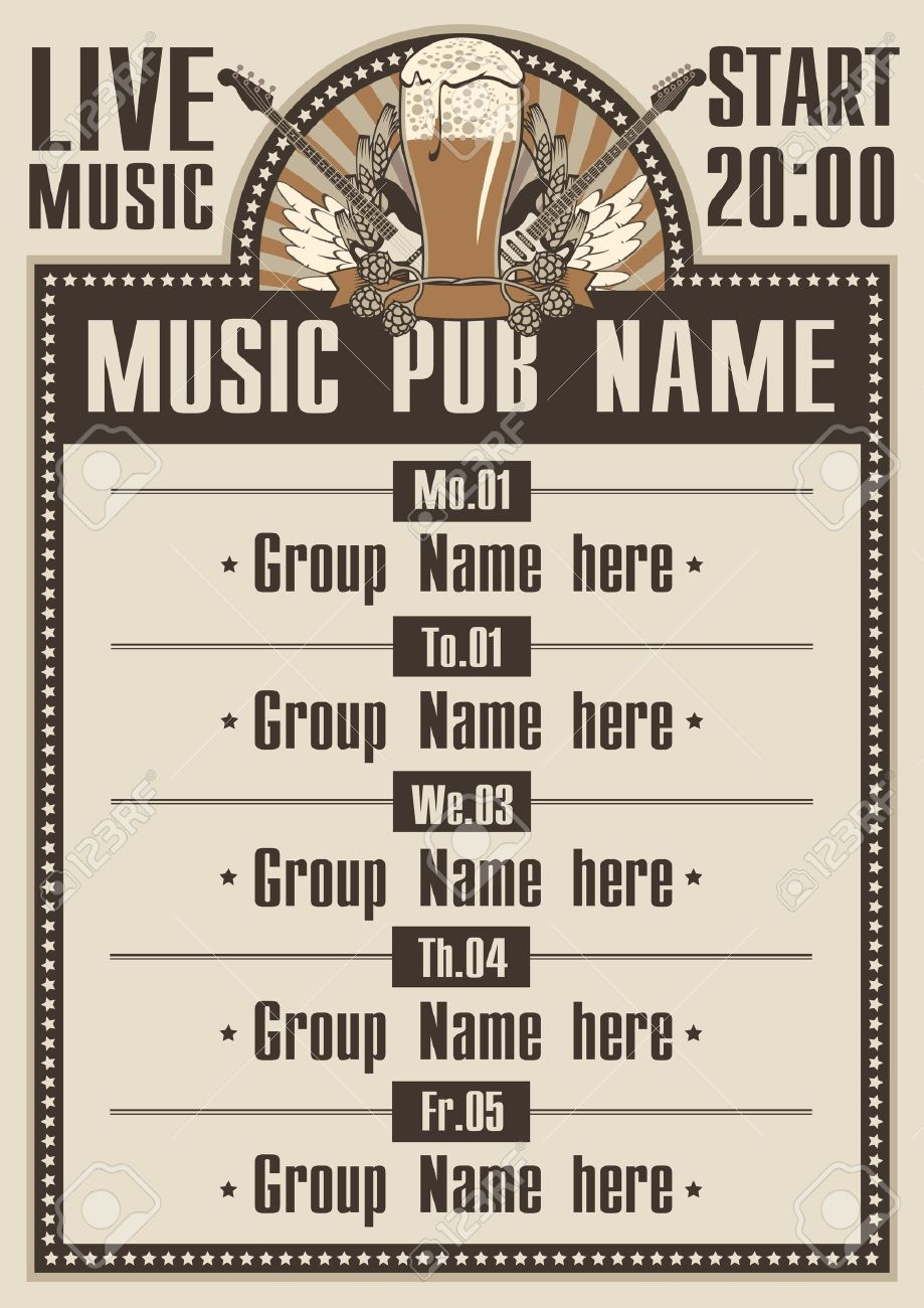 Playbill for the musical pub with live music - 20659230