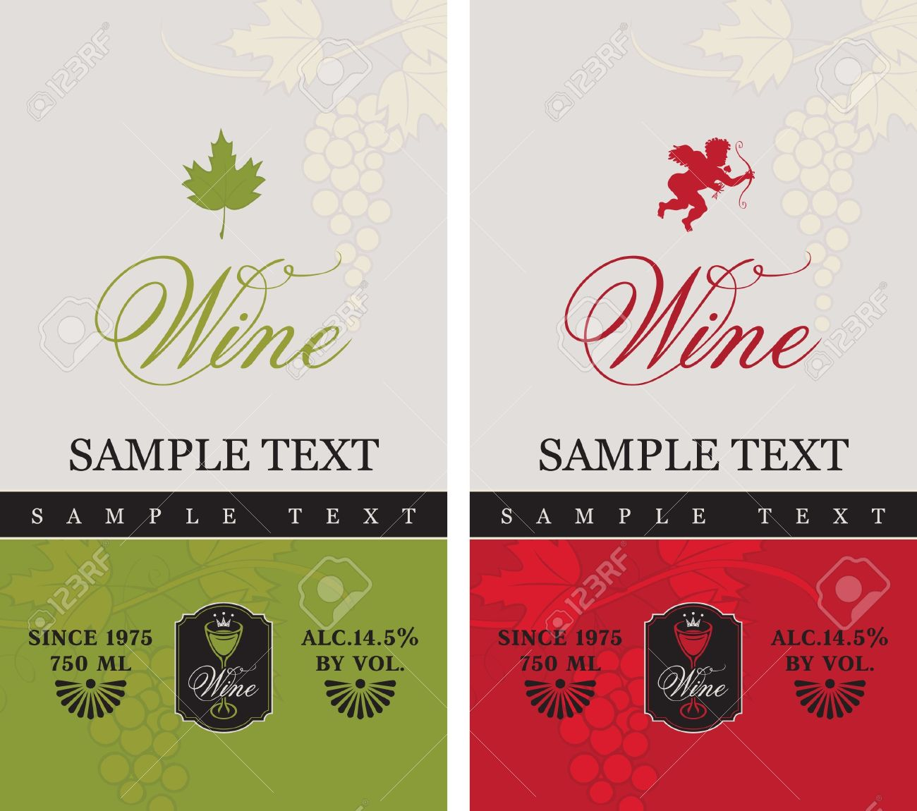 two labels for red and white wine with grapes and Cupid - 20667977