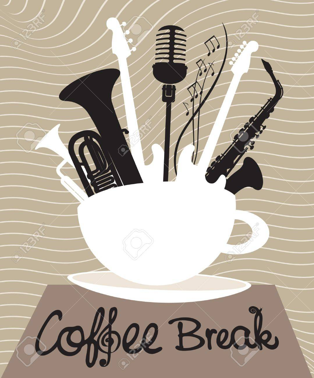 cup of coffee with different musical instruments - 20900114