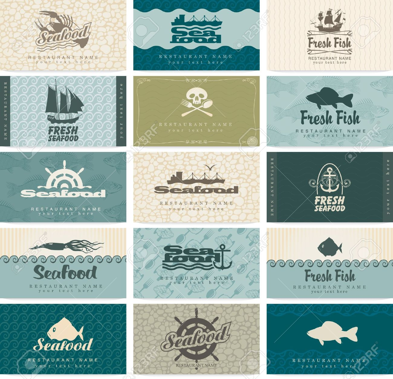set of business cards on seafood - 20900121