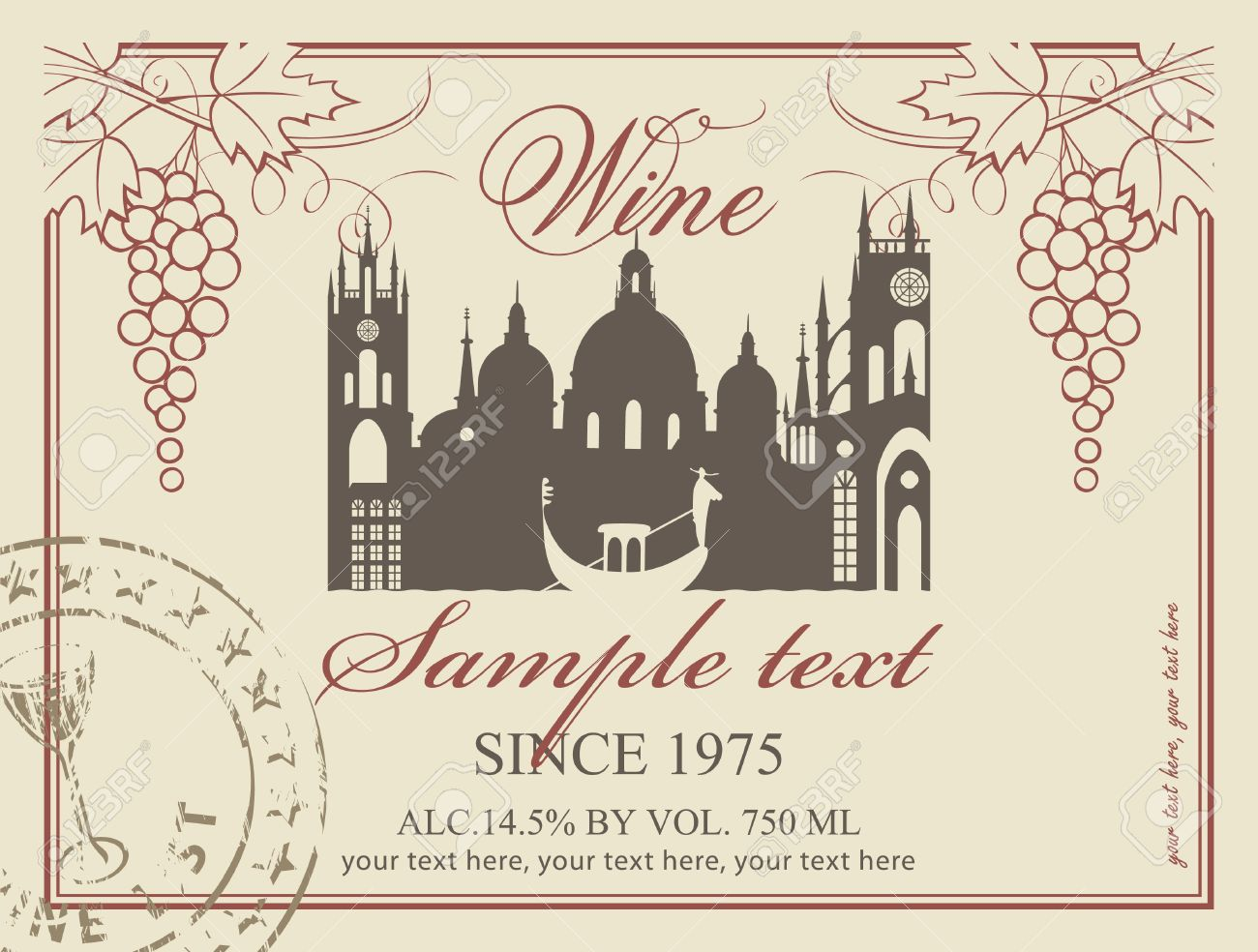 wine label with the old town and a bunch of grapes - 20900127