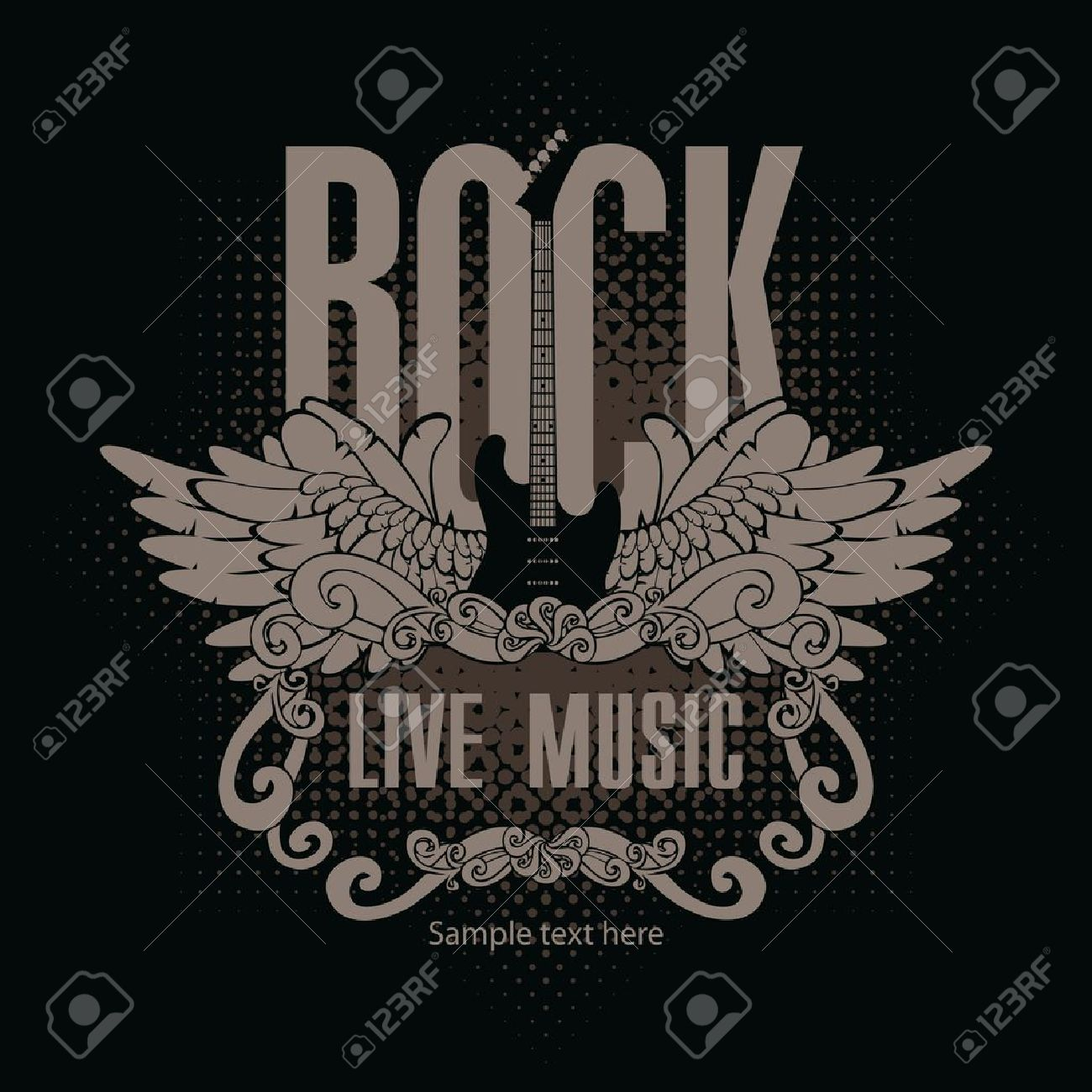 square banner with a guitar and wings and the words of rock music on a black background - 21823252