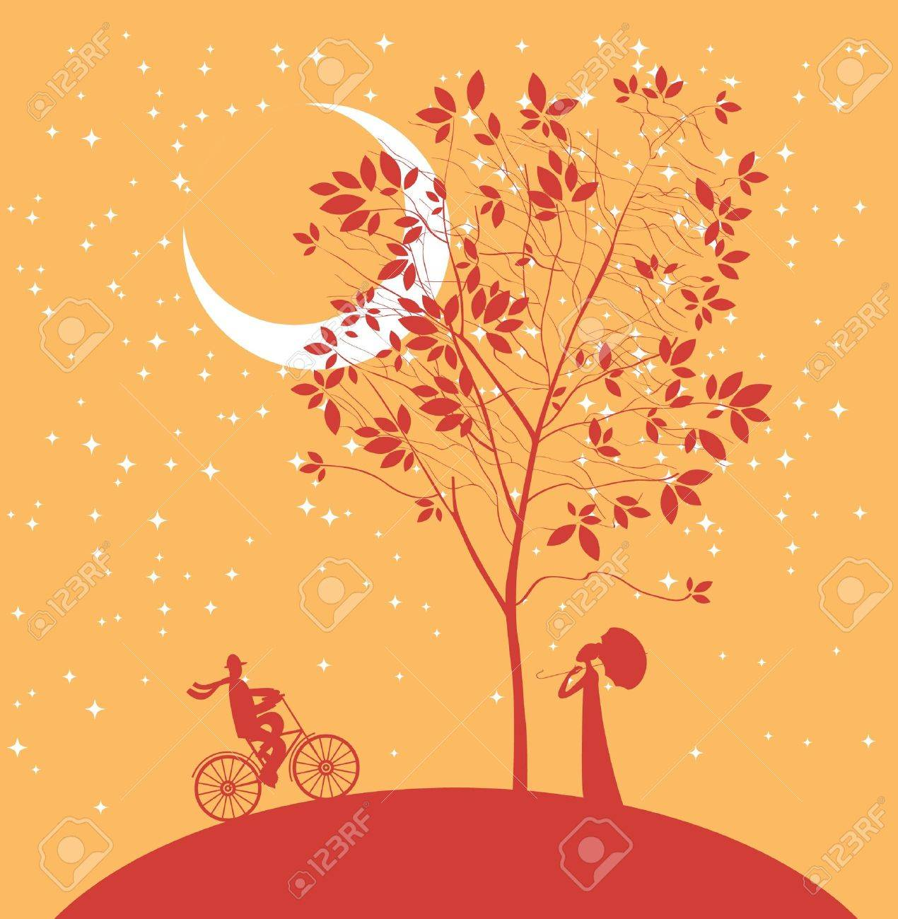 two lovers under a tree at night Stock Vector - 21960240