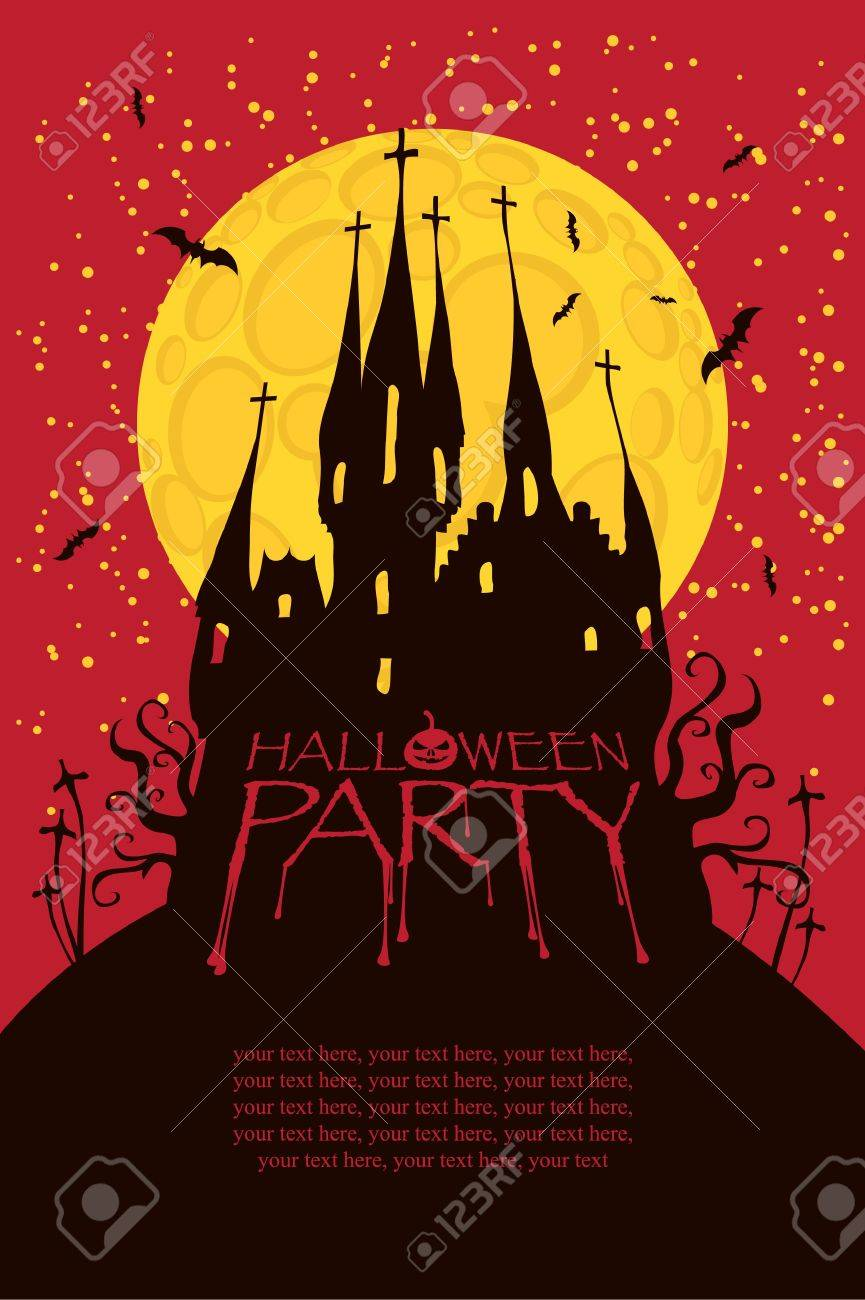 Halloween Party With An Old Gothic Castle In The Cemetery On ...