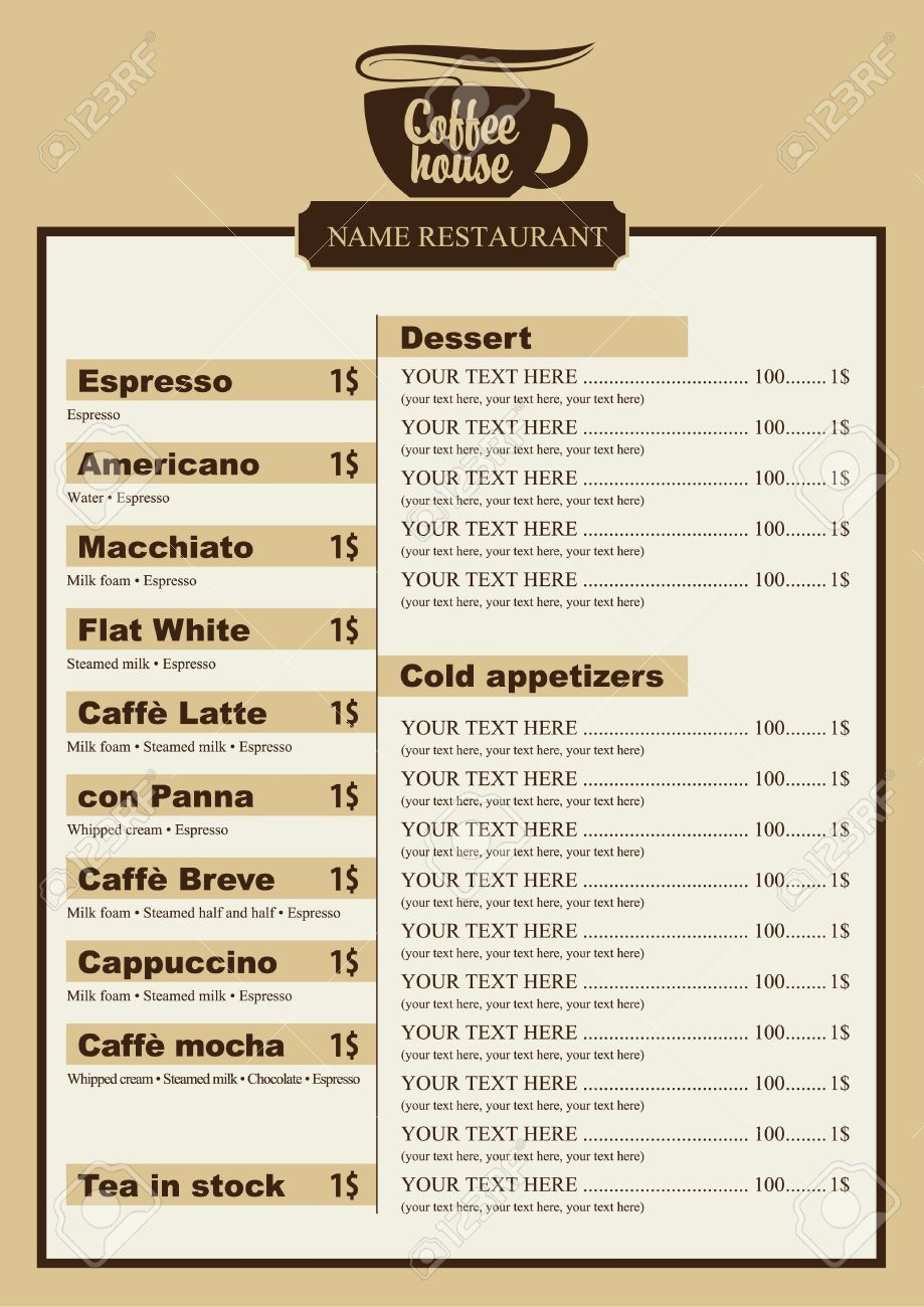 menu list for coffee house with a cup royalty free cliparts vectors