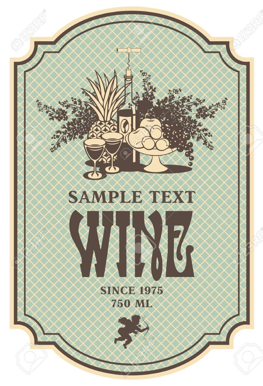 wine retro label with a still life of bottles, fruit and lilac - 22734656
