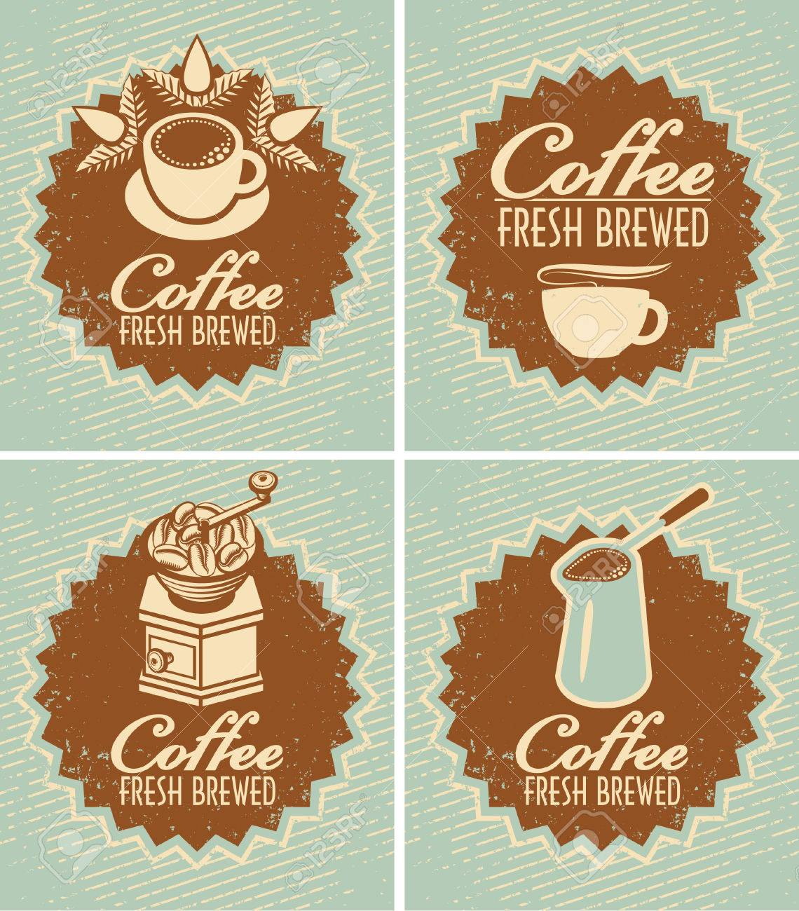 retro set of banners for the preparation of fresh coffee - 23238480