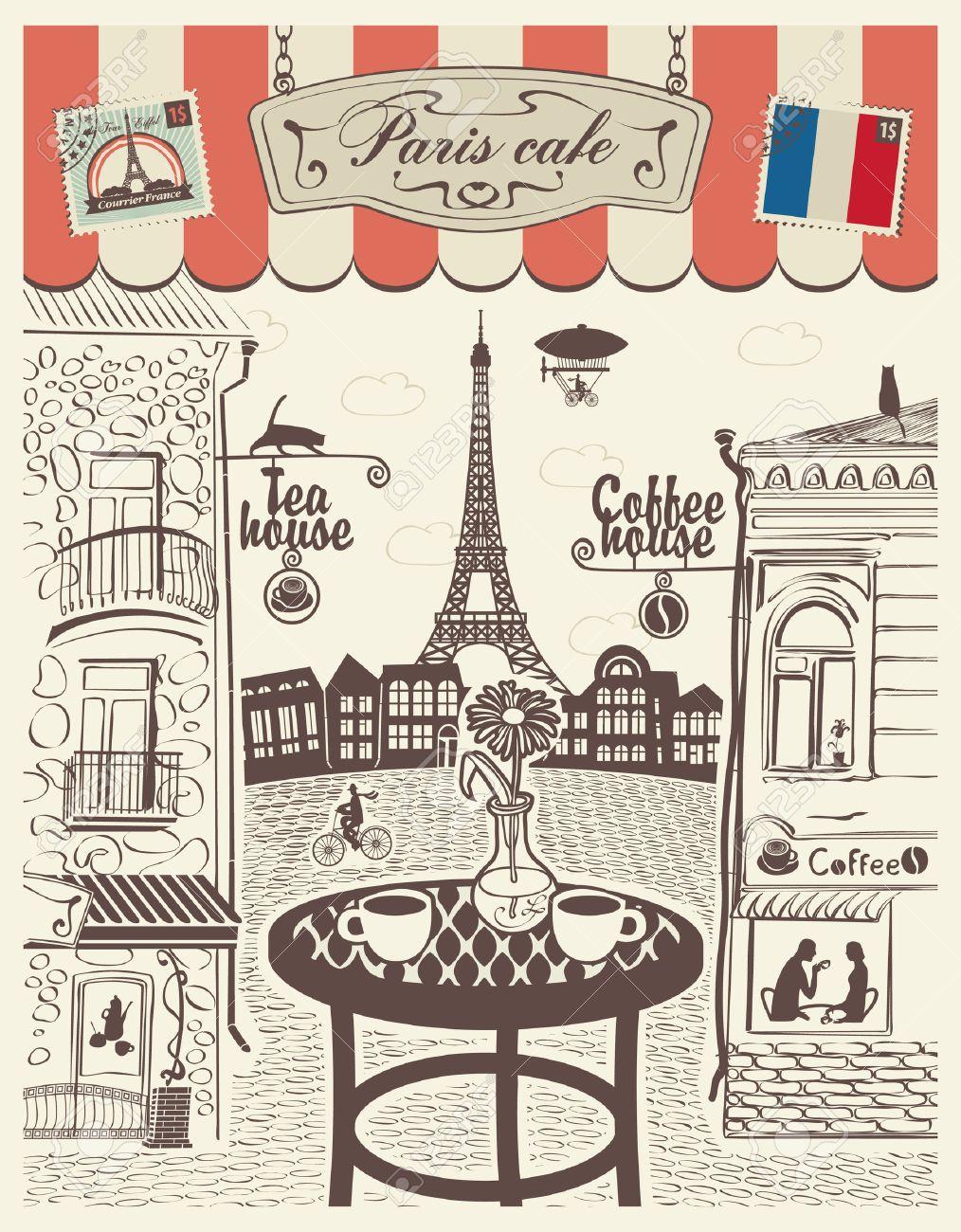 Parisian street restaurant with views of the Eiffel Tower - 24196186