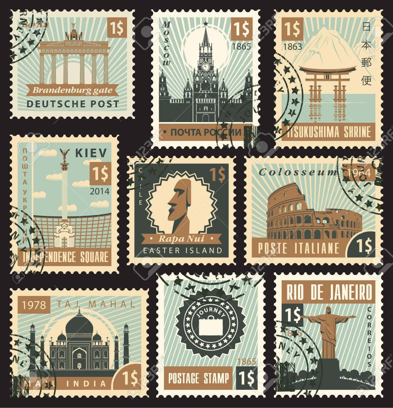 set of stamps from different countries with architectural landmarks - 24198088