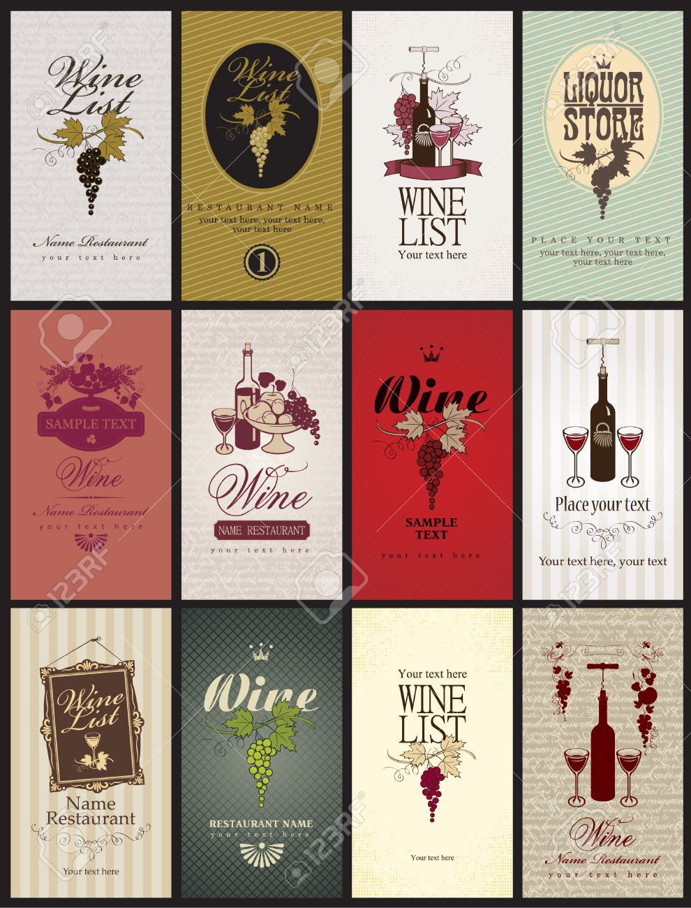 set of business cards on Wine - 24529605