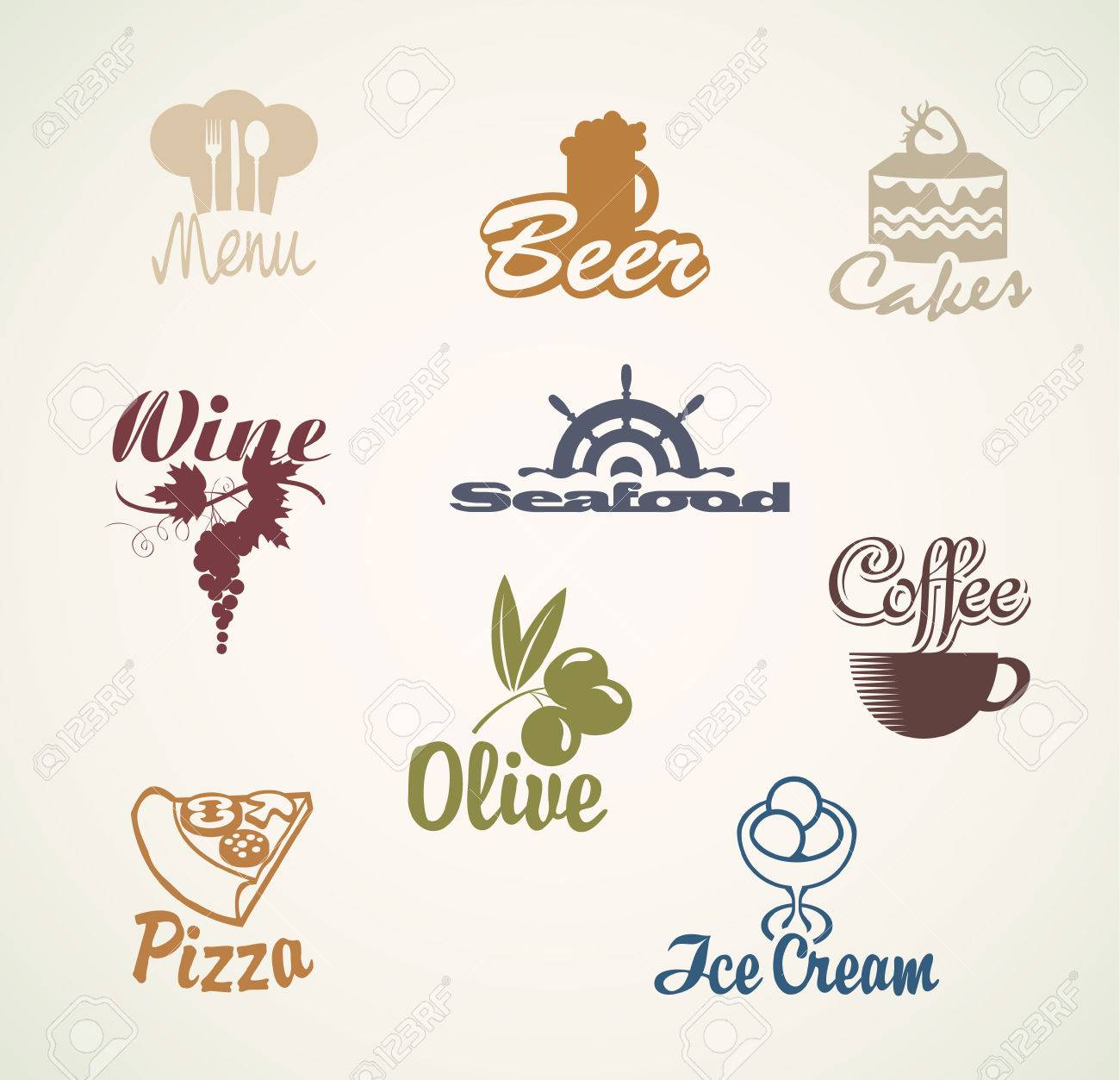 set of characters on the theme of food and drinks Stock Vector - 24549427