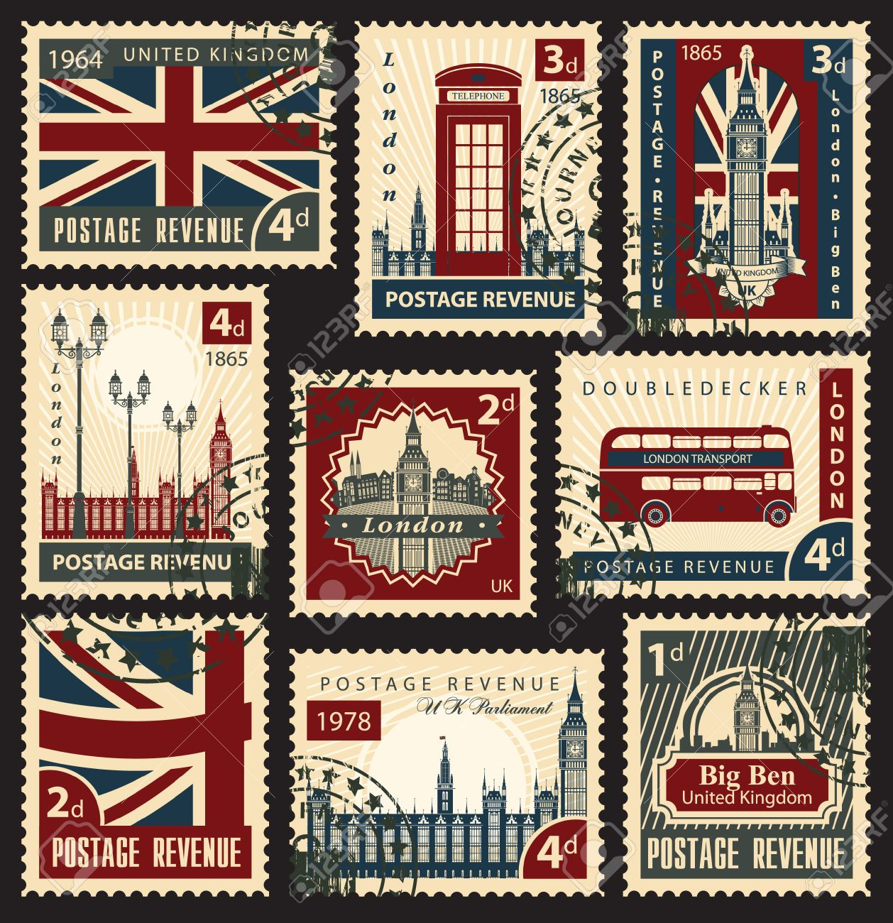 set of stamps with the flag of the UK and London sights - 24549455