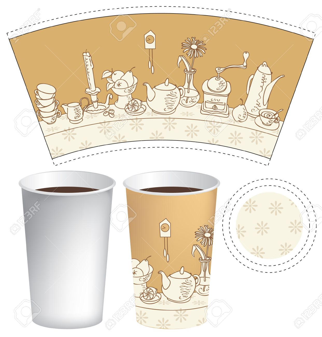 Template Paper Cup For Coffee And Tea Stock Vector