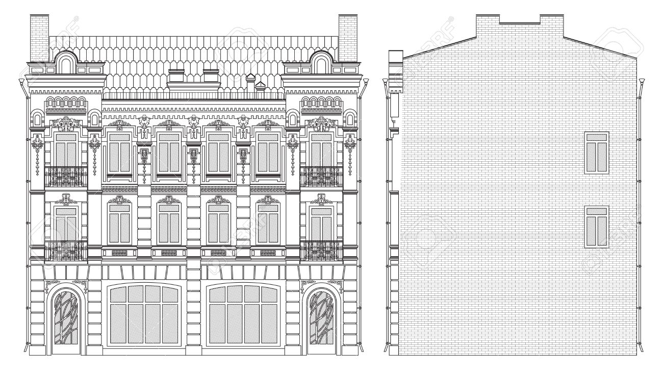 Drawing Three-storey House In Baroque Style Front And Side Royalty on shingle style architecture homes, islamic architecture homes, international style architecture homes, weird architecture homes, minimalist architecture homes, art deco architecture homes, ancient egyptian architecture homes, modernist architecture homes, post modern architecture homes, bauhaus architecture homes, contemporary architecture homes, old world architecture homes,