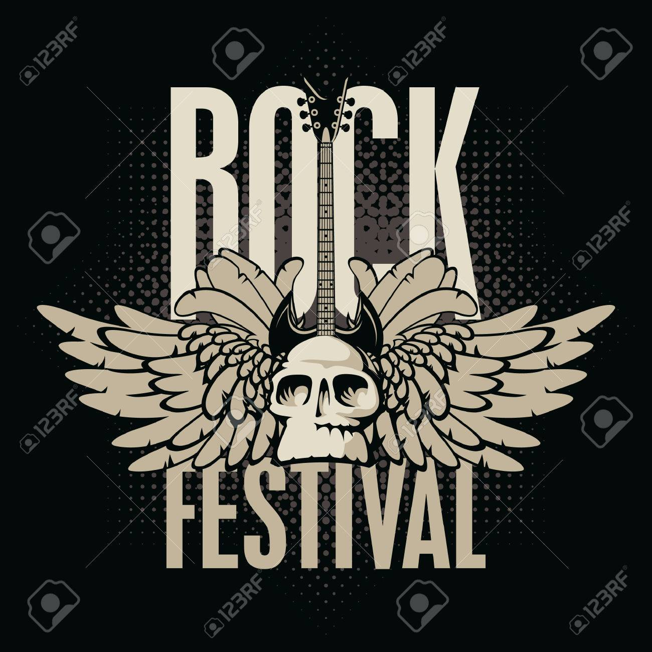 poster for a rock festival with skull, guitar and wings - 25855463