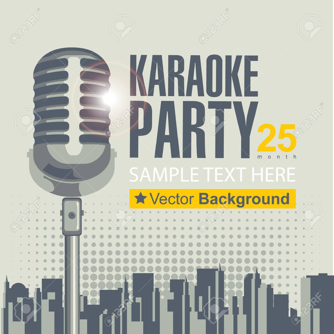 banner with microphone for karaoke parties over modern city background - 27535834
