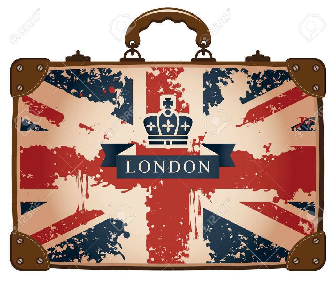 Travel bag with a British flag and crown - 28909953