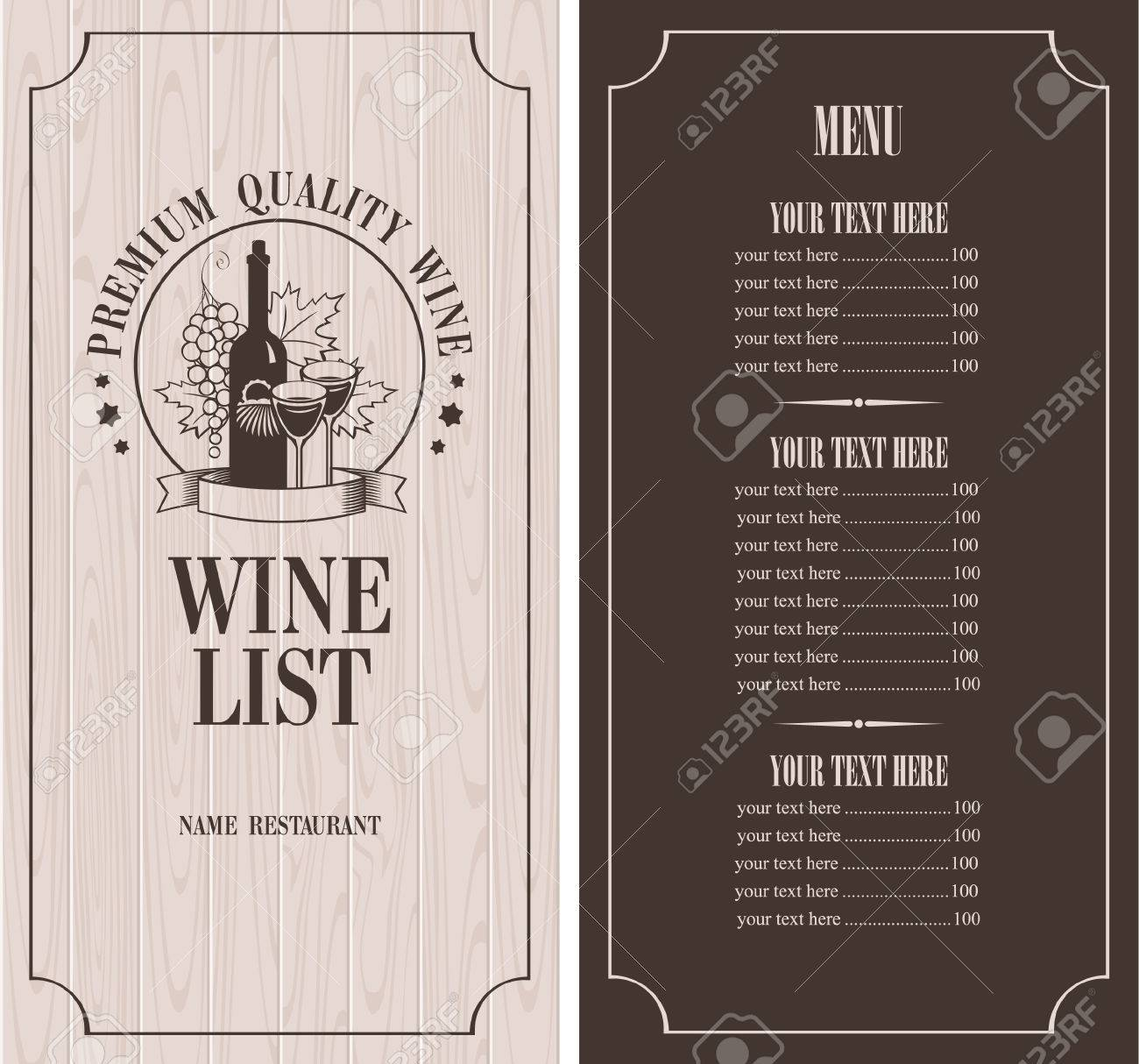 Menu with a bottle of wine, glasses and a bunch of grapes on the background of wooden boards - 29425229