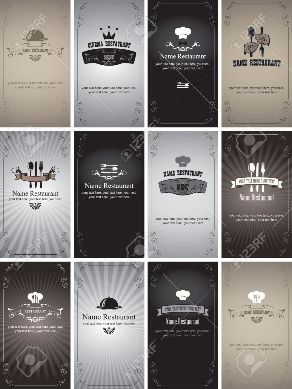 set of business cards on the theme of food and drinks in style Black and white film - 29697618