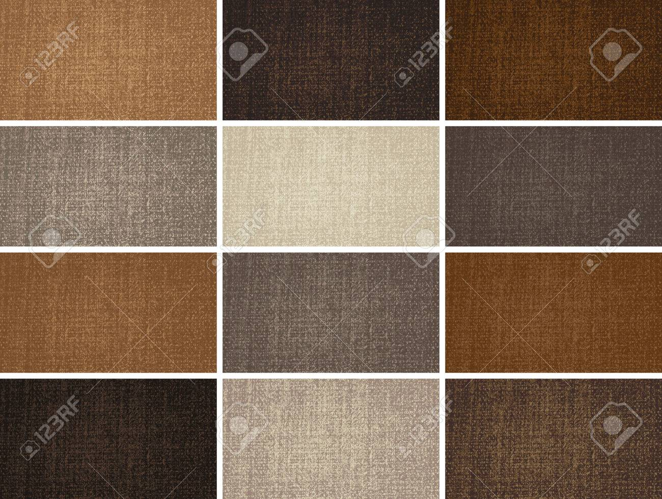 vector set of templates for business cards with fabric texture - 30154544