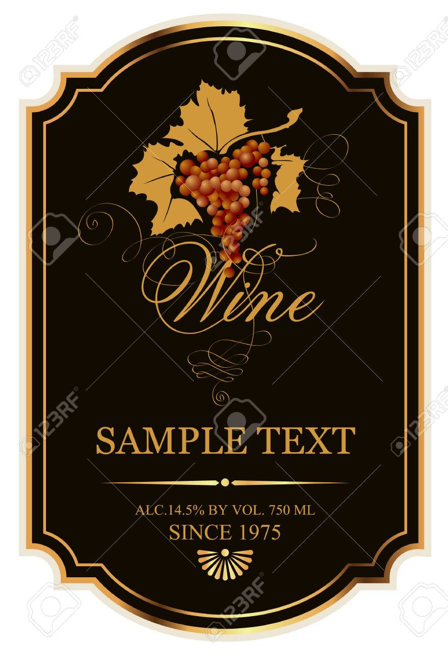 label for wine with grapes on a black background with gold - 30829609