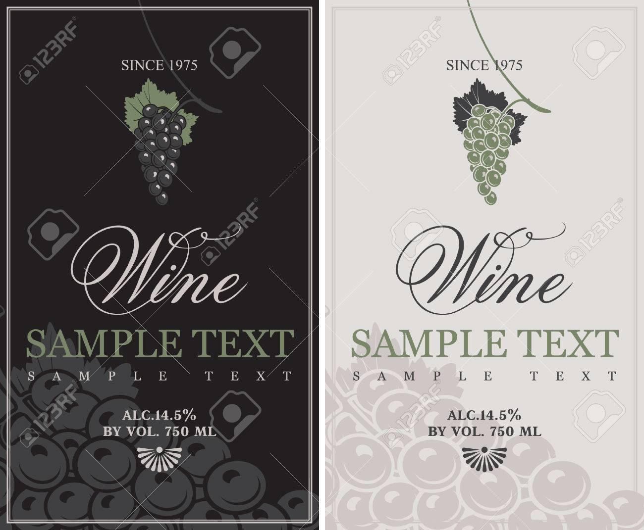 set of vector labels for wine with grapes - 32980208