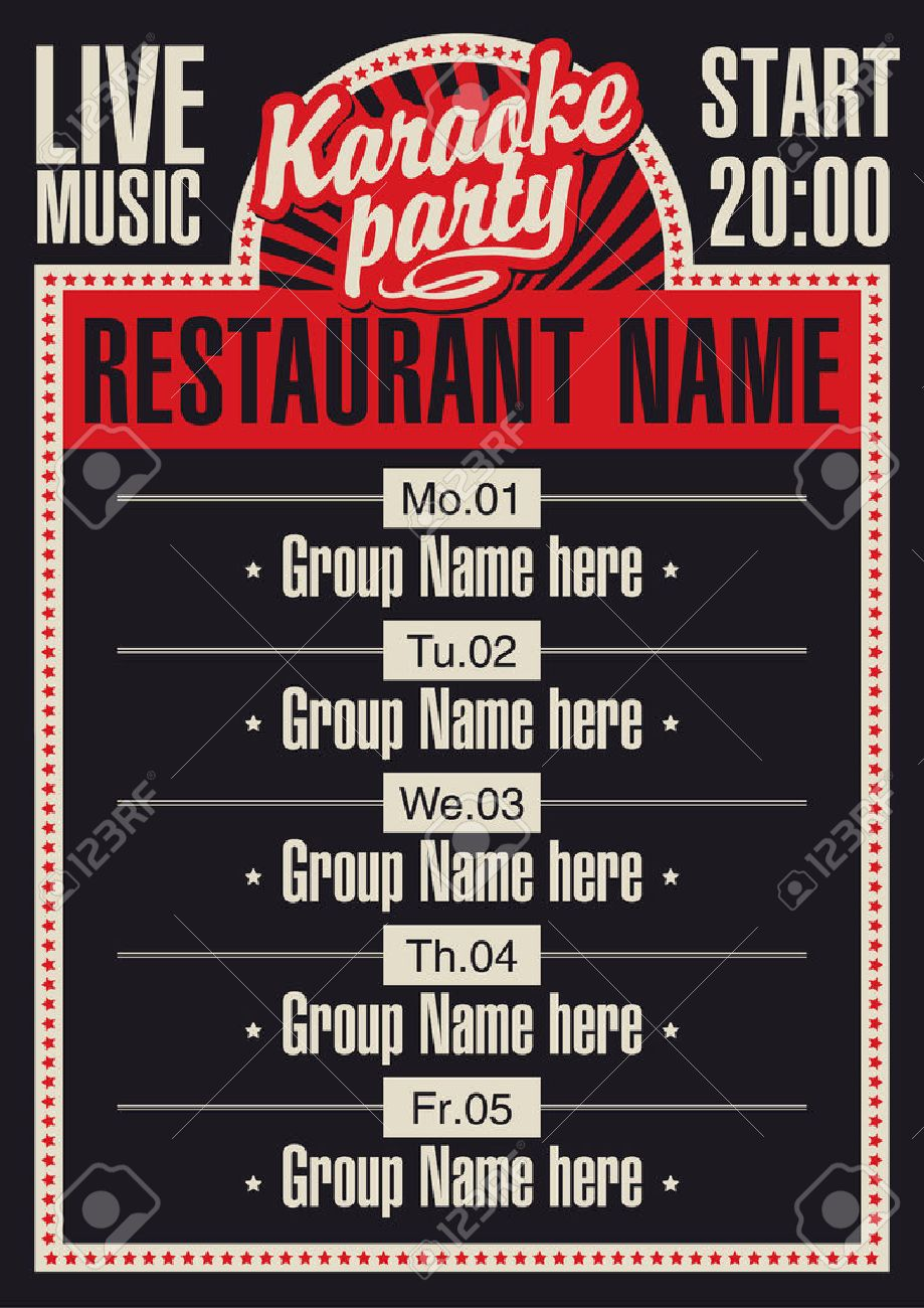 poster for a restaurant with karaoke and a schedule of performances - 38270488