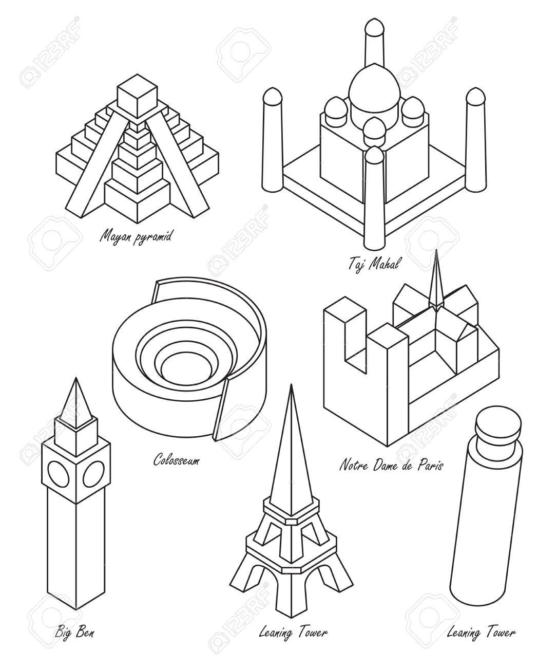 Set Of Schematic Drawings Of Various Architectural Landmarks Royalty ...