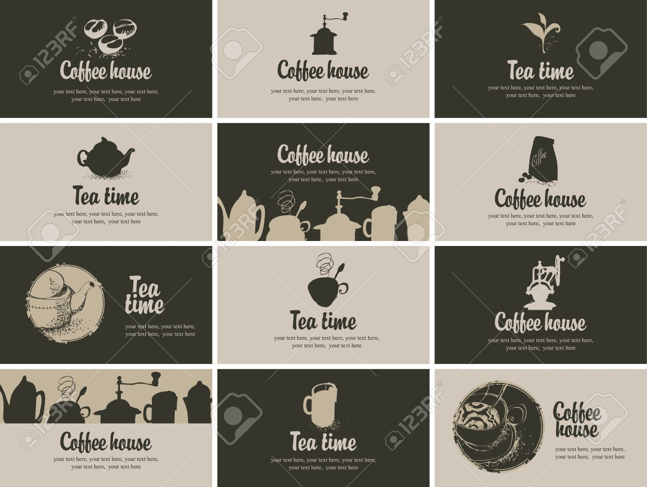 Vector Business Card Coffee And Tea In Retro Royalty Free Cliparts ...