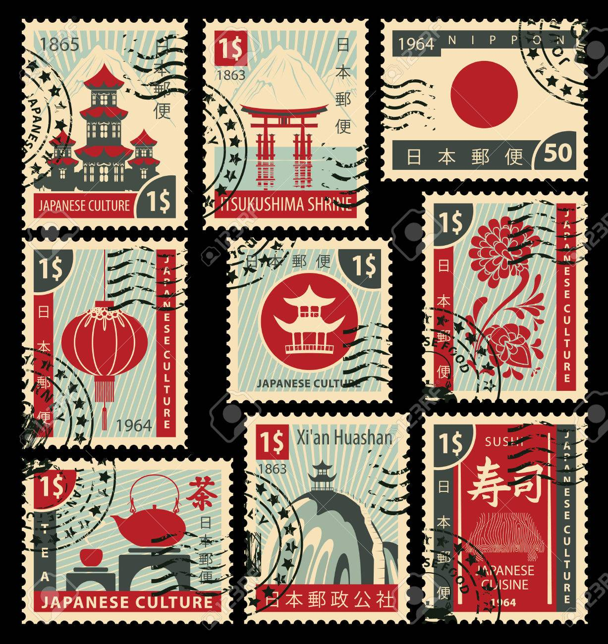 set of postage stamps on the theme of Japanese culture. Hieroglyph Japan Post, Sushi, Tea - 54006654