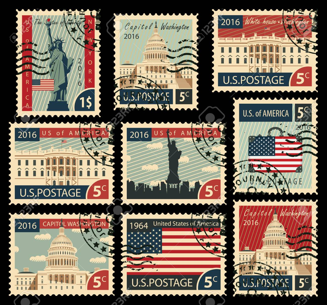 set of stamps with the image of the United States of America architectural landmarks - 54006663