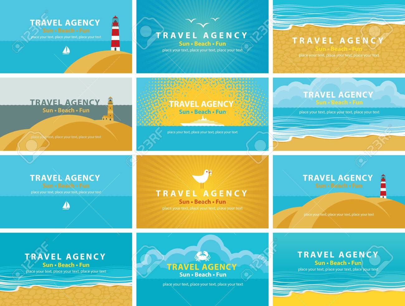 Set Of Backgrounds For Business Cards For Travel Agency Business ...