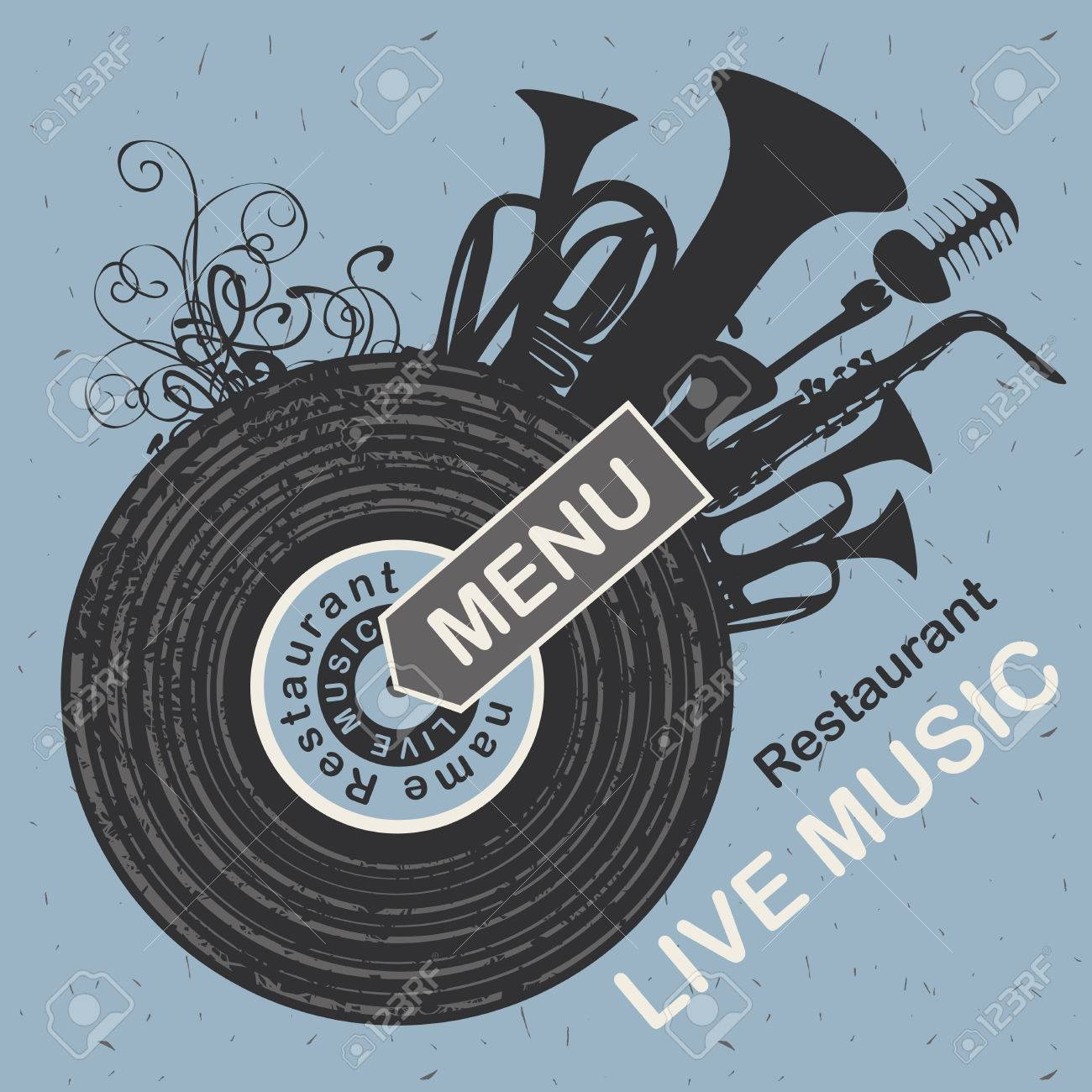 banner for menu restaurant with live music patterned vinyl and musical instruments - 61057925