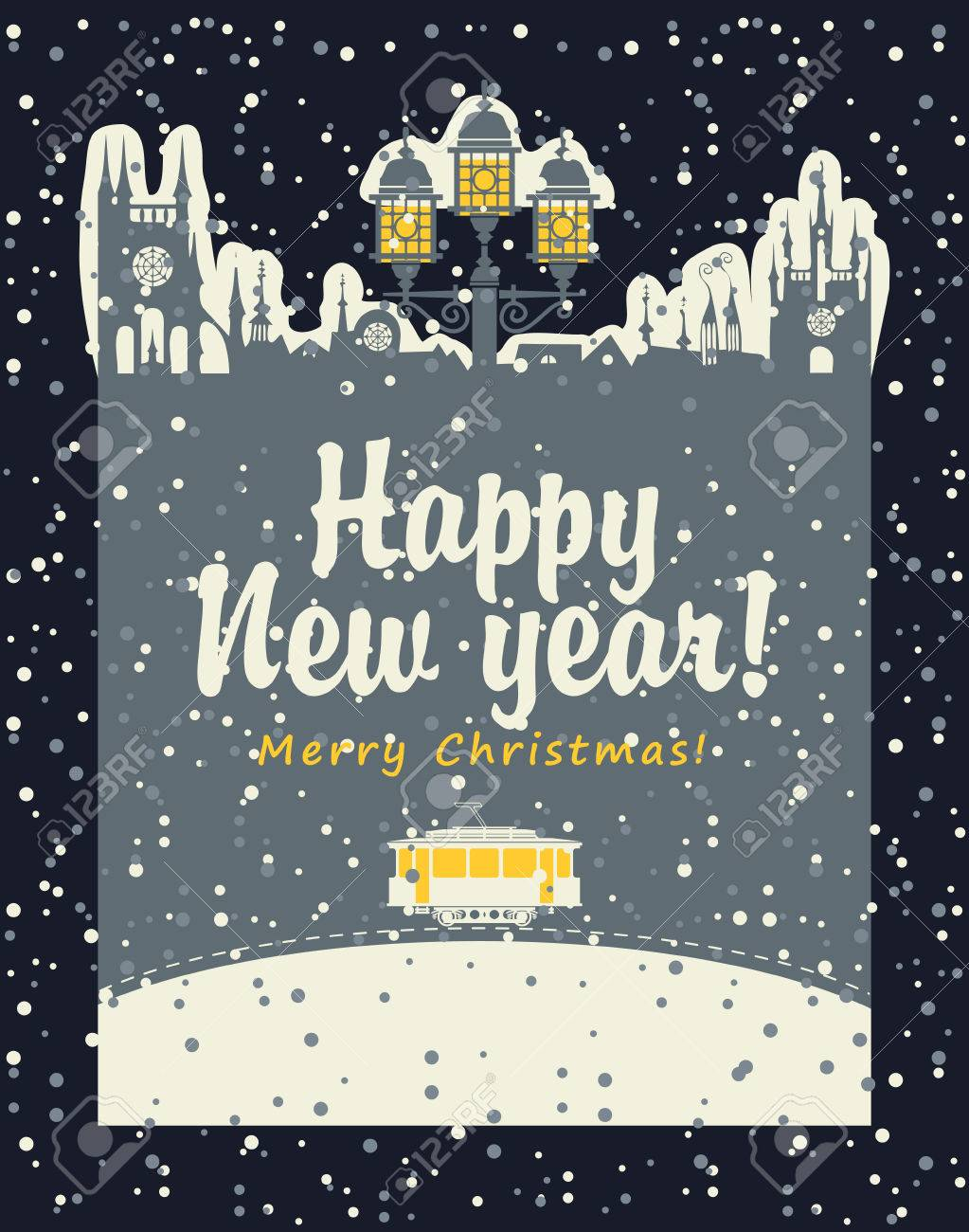 Christmas Card With An Old Tram In The City And A Street Lamp ...