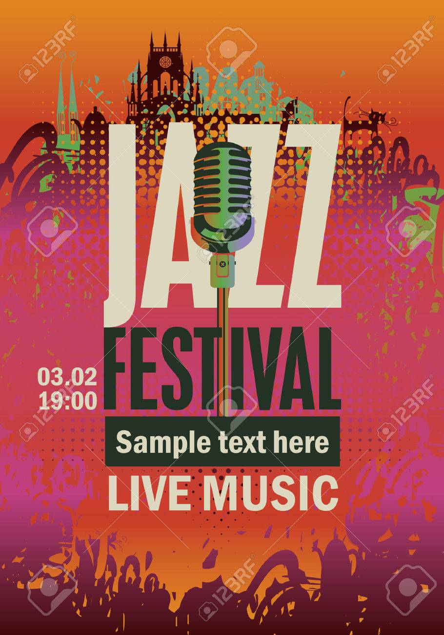 banner music poster with jazz festival an saxophone on grungy background - 67912551