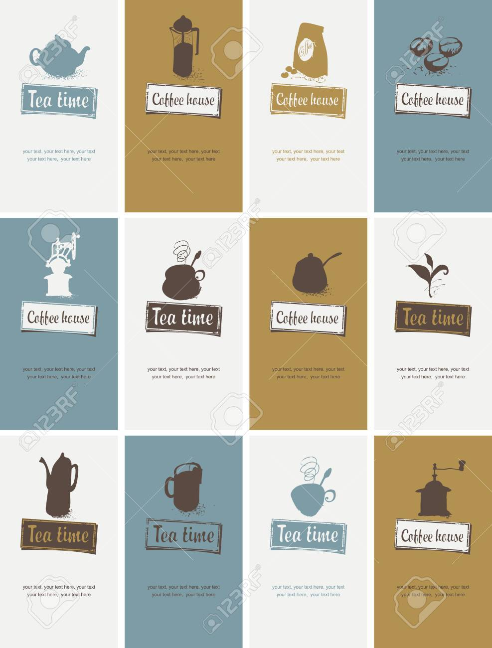 Set Of Business Cards For Restaurant Or Cafe Shop On Tea And ...