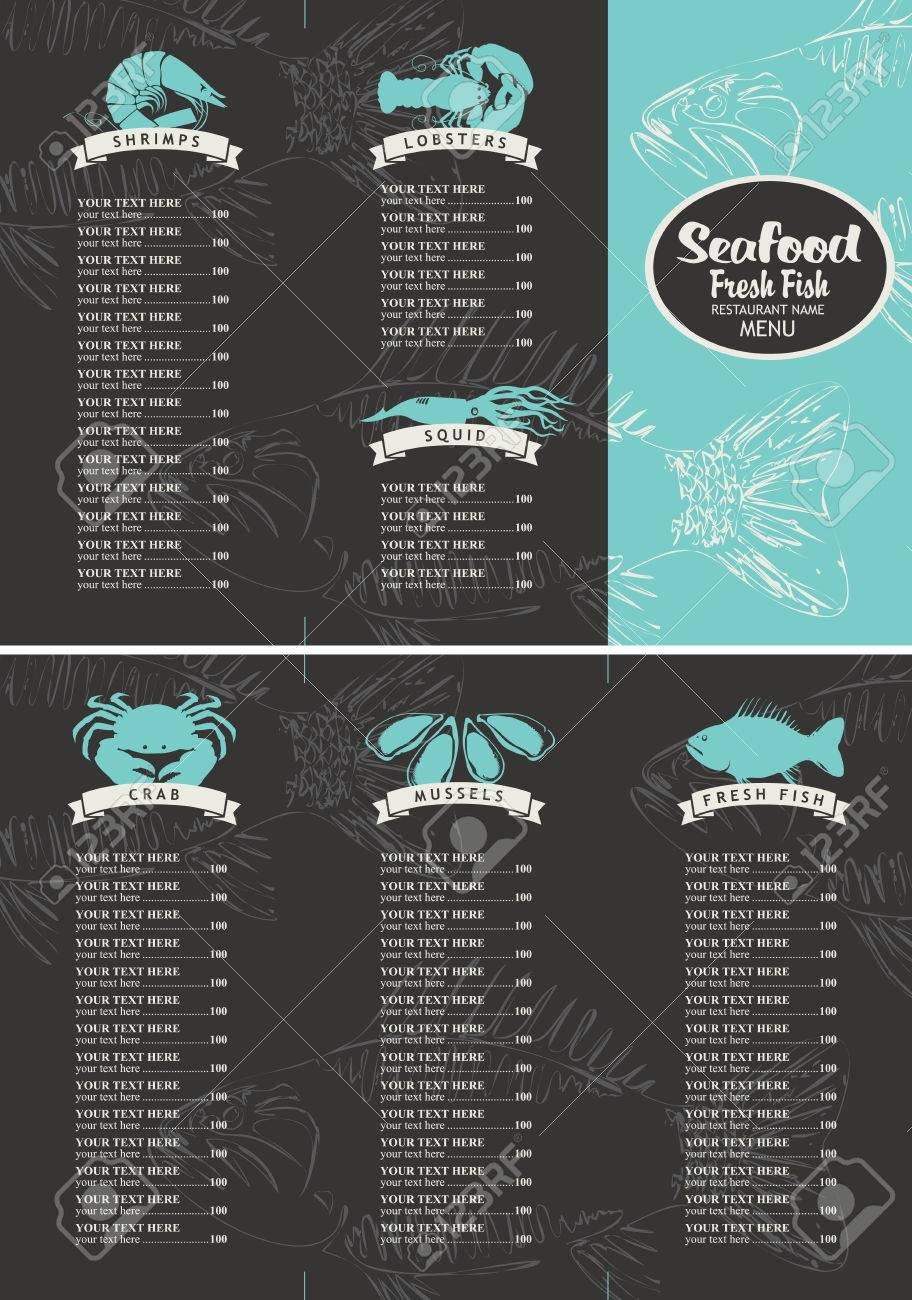booklet menu with price list for a seafood restaurant with a