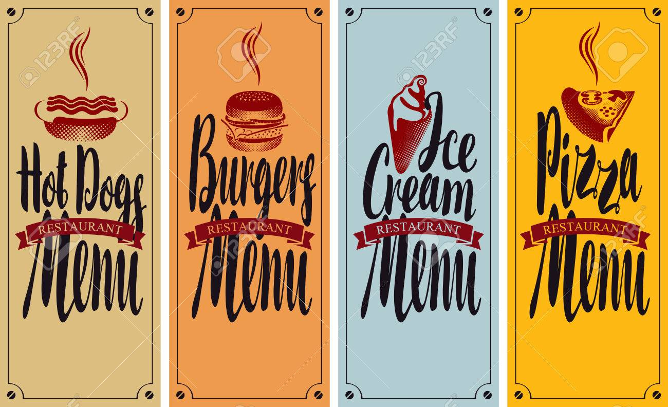 Vector Cover Menu For Fast Food Restaurant With Hot Dog Burger Royalty Free Cliparts Vectors And Stock Illustration Image 67914439