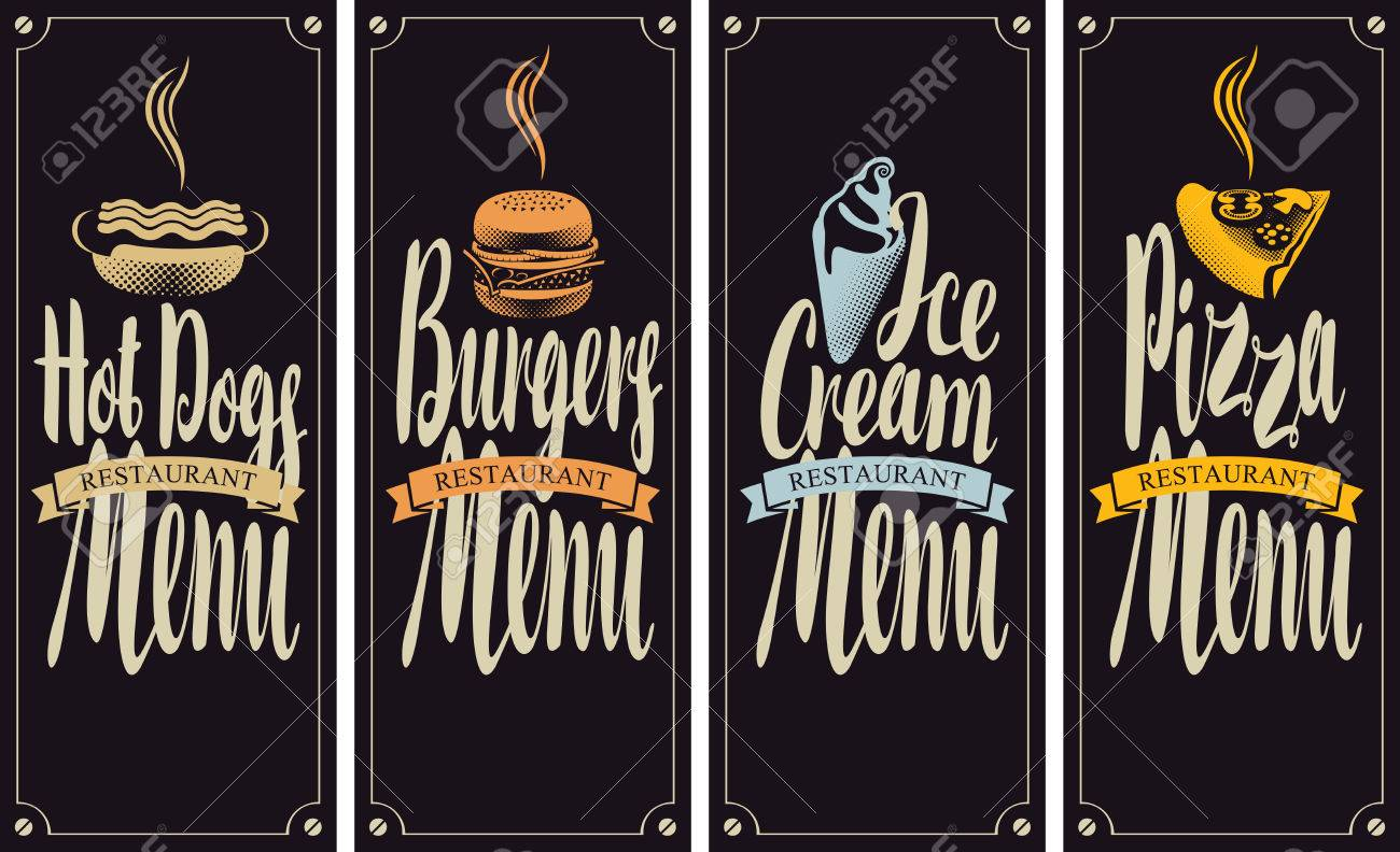 Vector Cover Menu For Fast Food Restaurant With Hot Dog Burger Royalty Free Cliparts Vectors And Stock Illustration Image 67914440