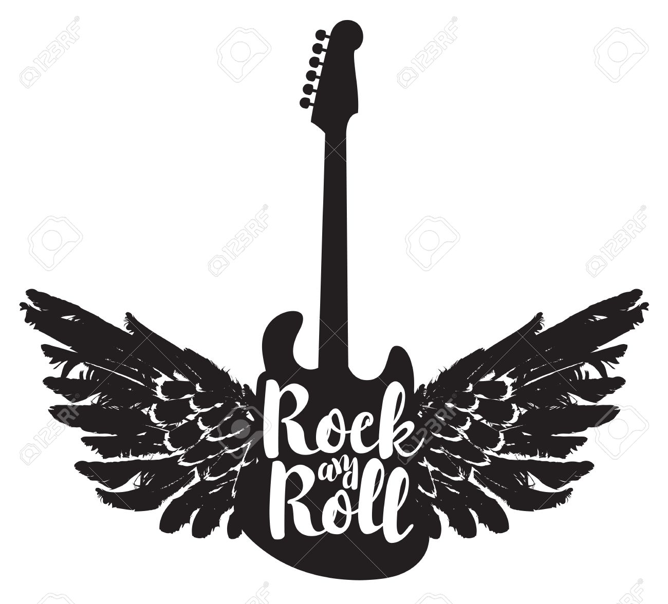 Logo With The Electric Guitar And The Words Rock And Roll With