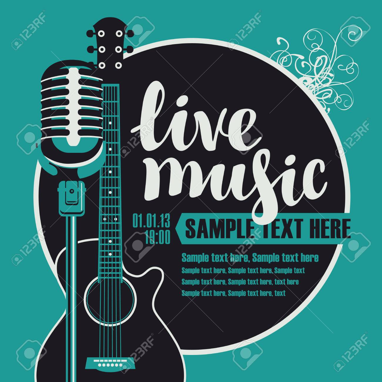 Banner with an acoustic guitar and a microphone for the concert of live music - 69986148