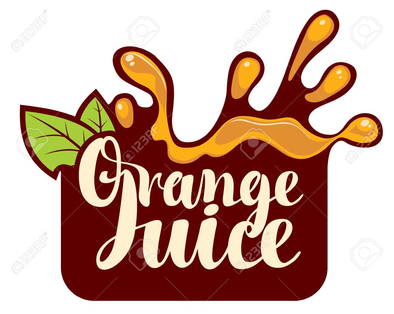 vector logo with a spray of fresh orange juice royalty free cliparts rh 123rf com