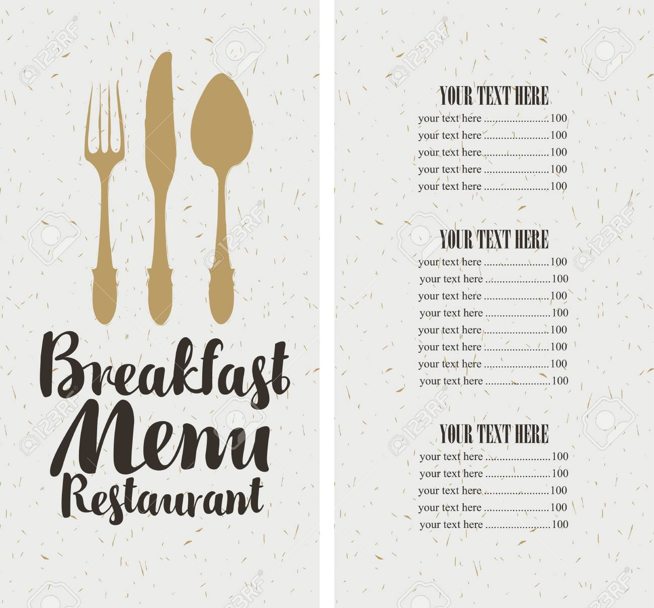 vector vector restaurant and cafe breakfast menu template with cutlery and price