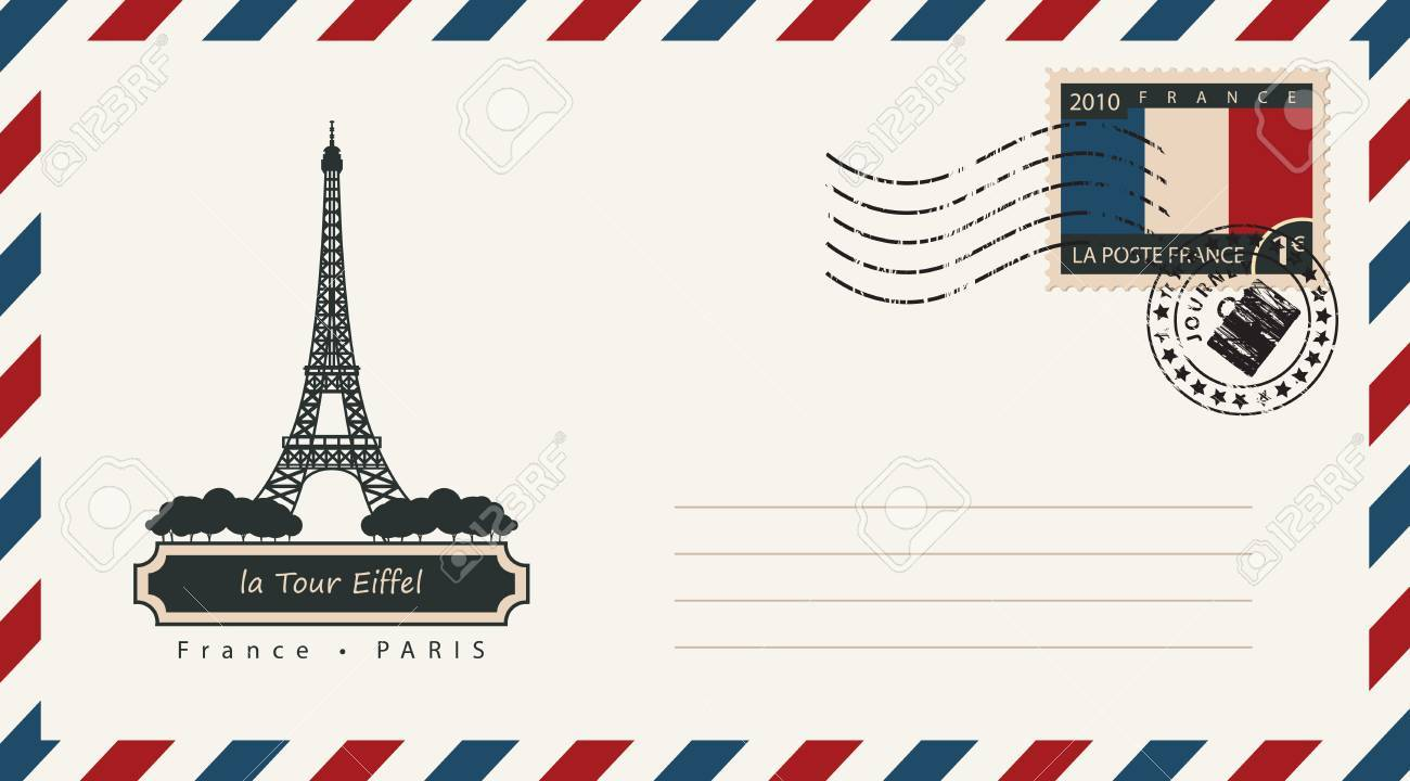an envelope with a postage stamp with the eiffel tower in paris