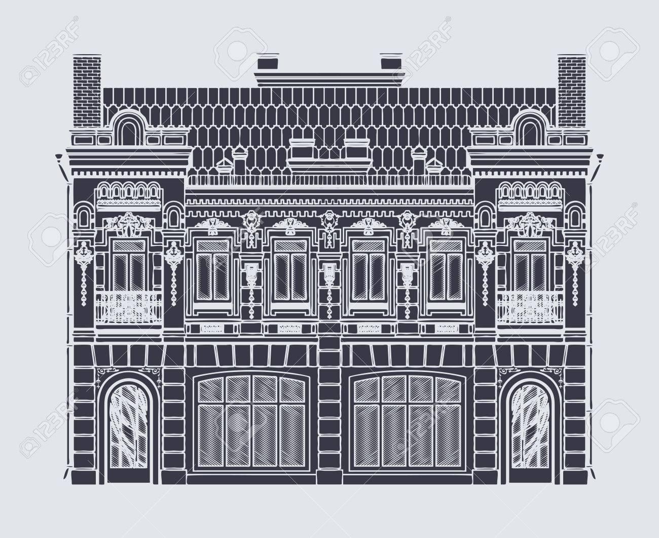 Dessin Vectoriel De Deux Etages Immeuble Ancien Dans Le Style