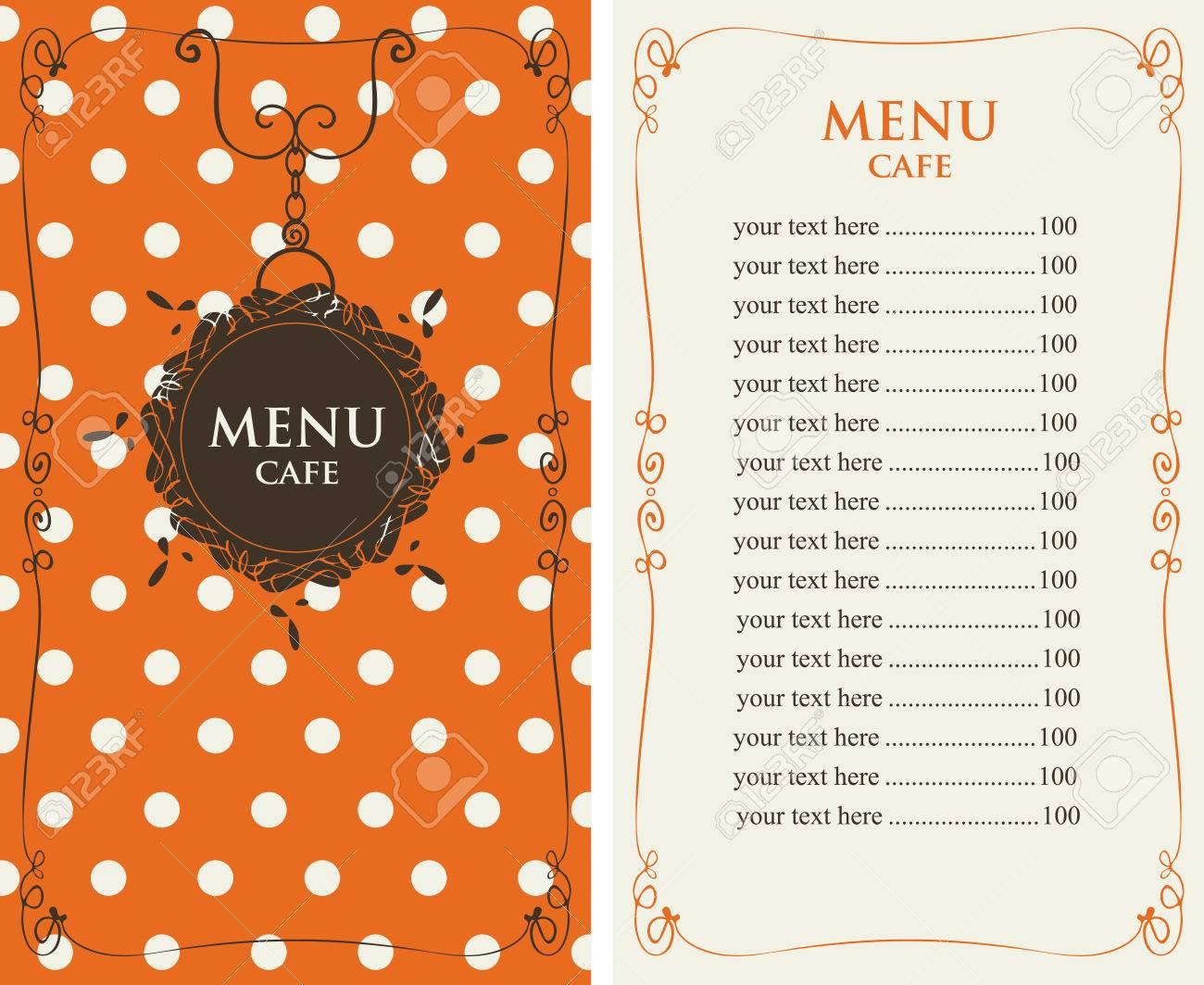 template menu for the cafe with price list on the background